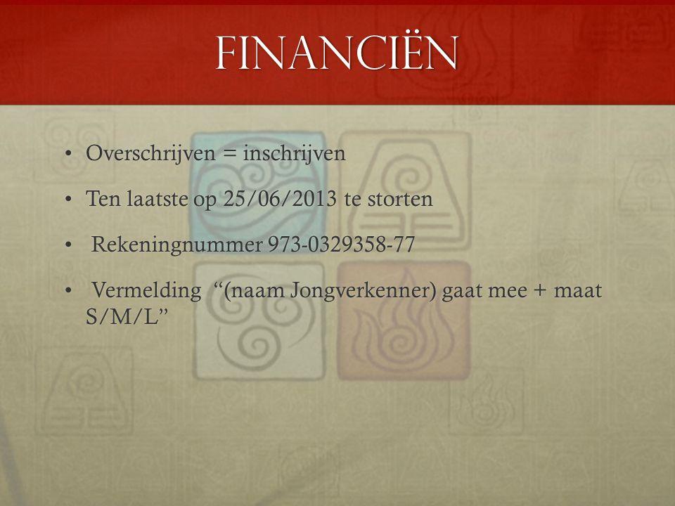 Financiën Overschrijven = inschrijven