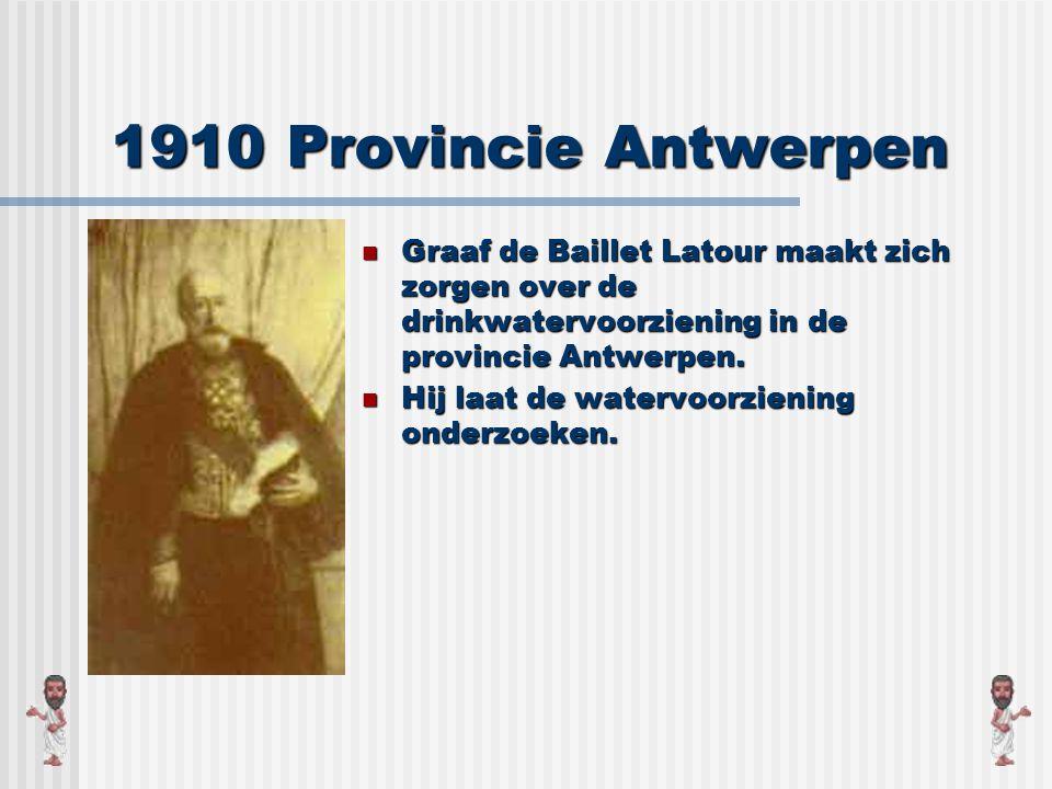1910 Provincie Antwerpen Graaf de Baillet Latour maakt zich zorgen over de drinkwatervoorziening in de provincie Antwerpen.
