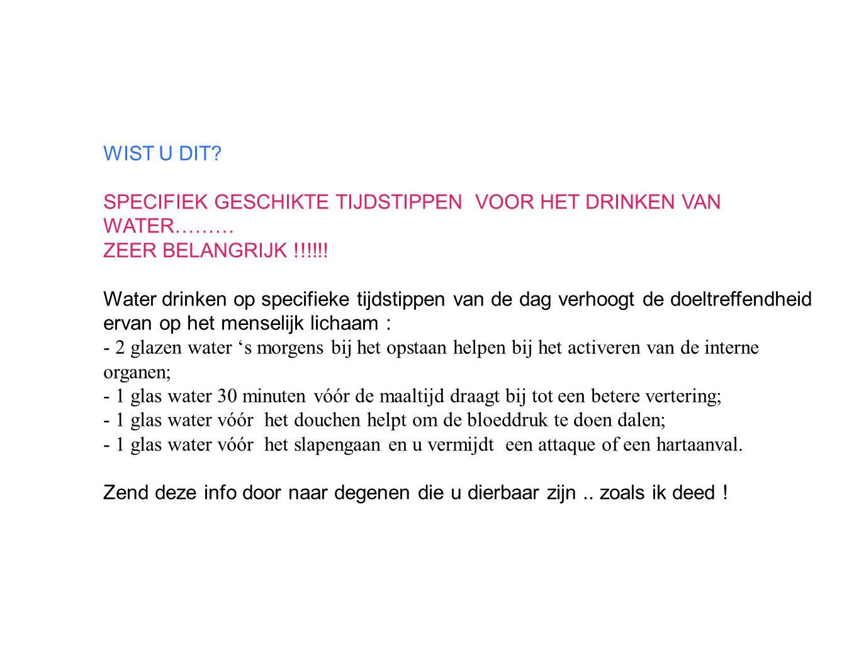 WIST U DIT SPECIFIEK GESCHIKTE TIJDSTIPPEN VOOR HET DRINKEN VAN WATER……… ZEER BELANGRIJK !!!!!!