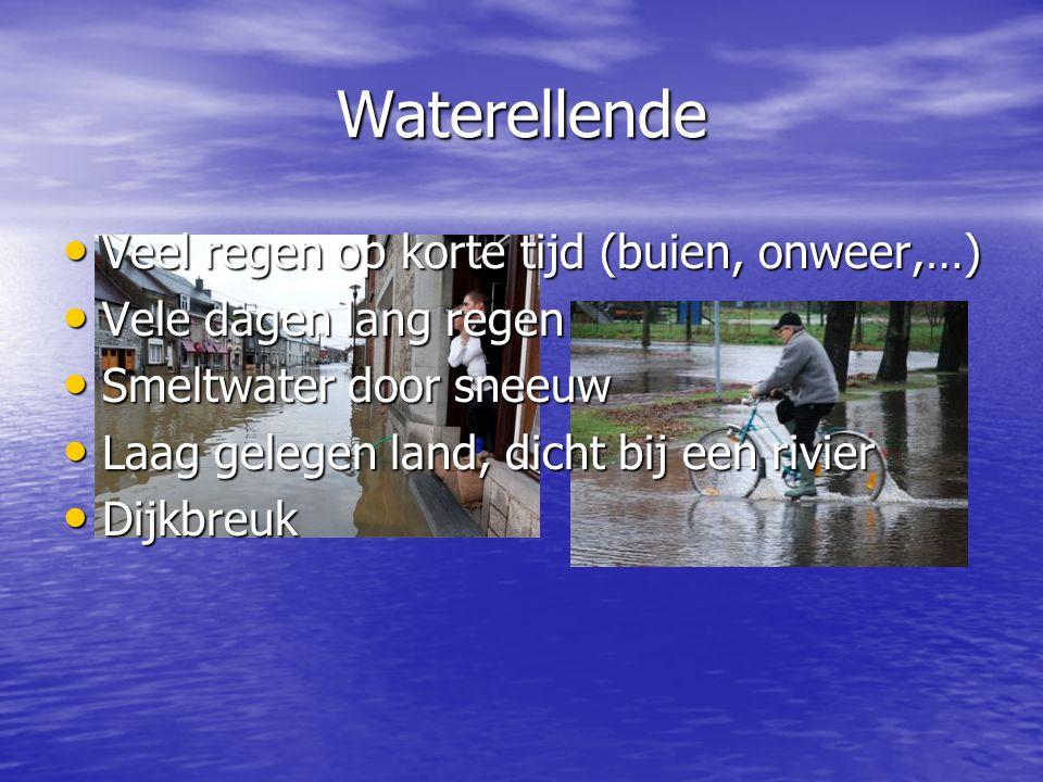 Waterellende Veel regen op korte tijd (buien, onweer,…)