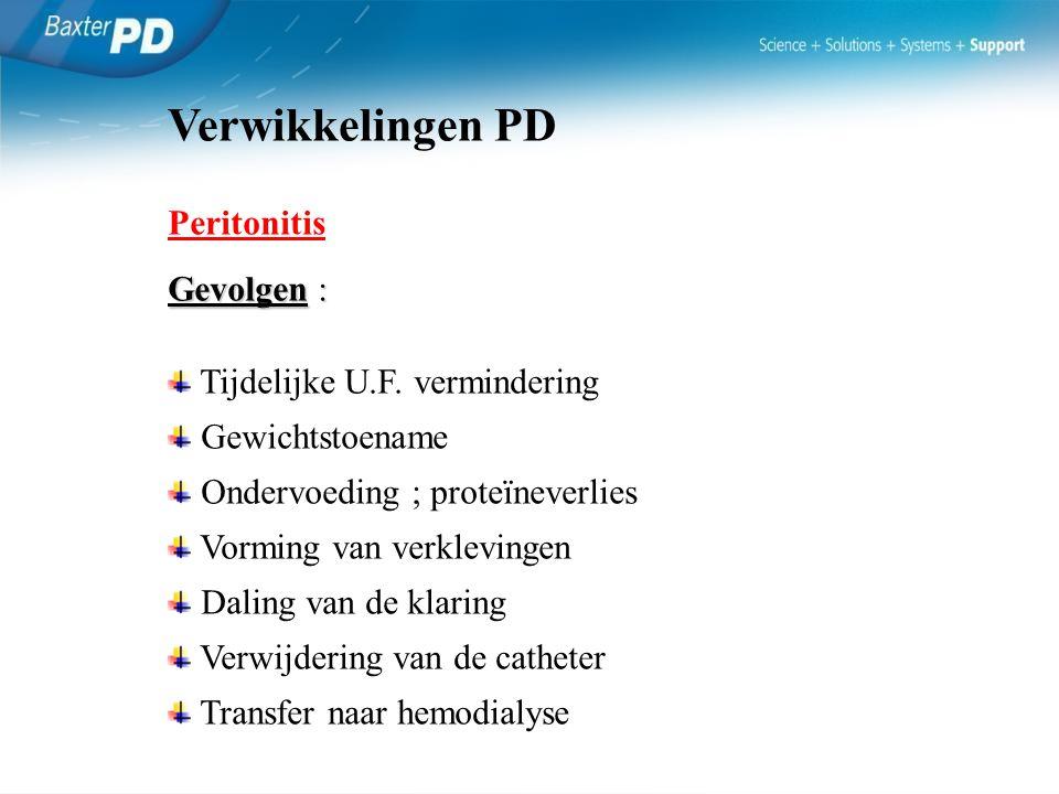 Verwikkelingen PD Peritonitis Gevolgen : Tijdelijke U.F. vermindering