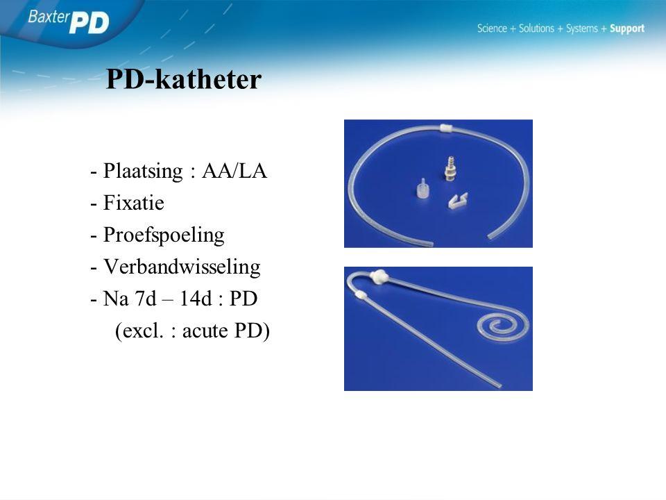 PD-katheter - Plaatsing : AA/LA - Fixatie - Proefspoeling