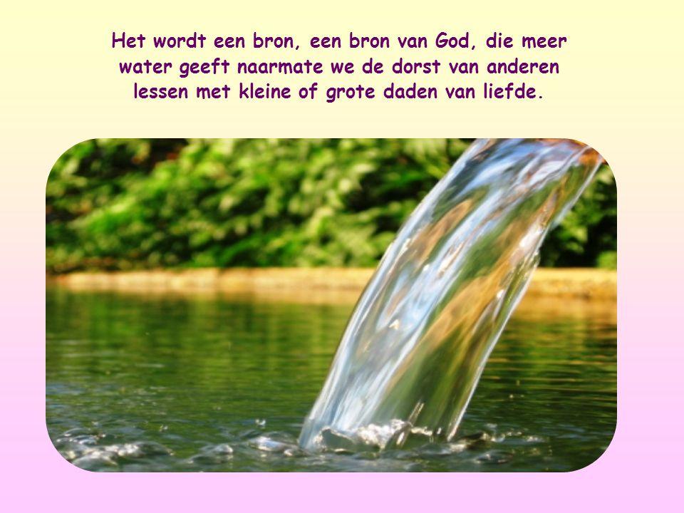 Het wordt een bron, een bron van God, die meer water geeft naarmate we de dorst van anderen lessen met kleine of grote daden van liefde.