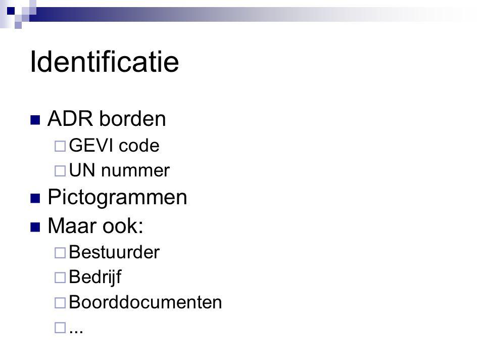 Identificatie ADR borden Pictogrammen Maar ook: GEVI code UN nummer