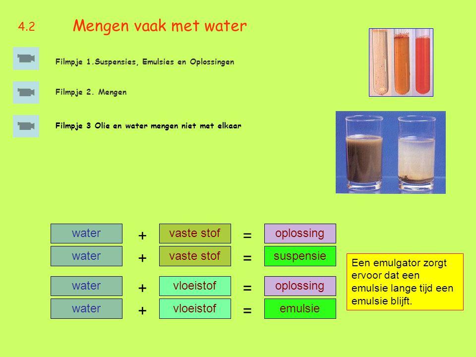 = + = + = + = + 4.2 Mengen vaak met water water vaste stof oplossing