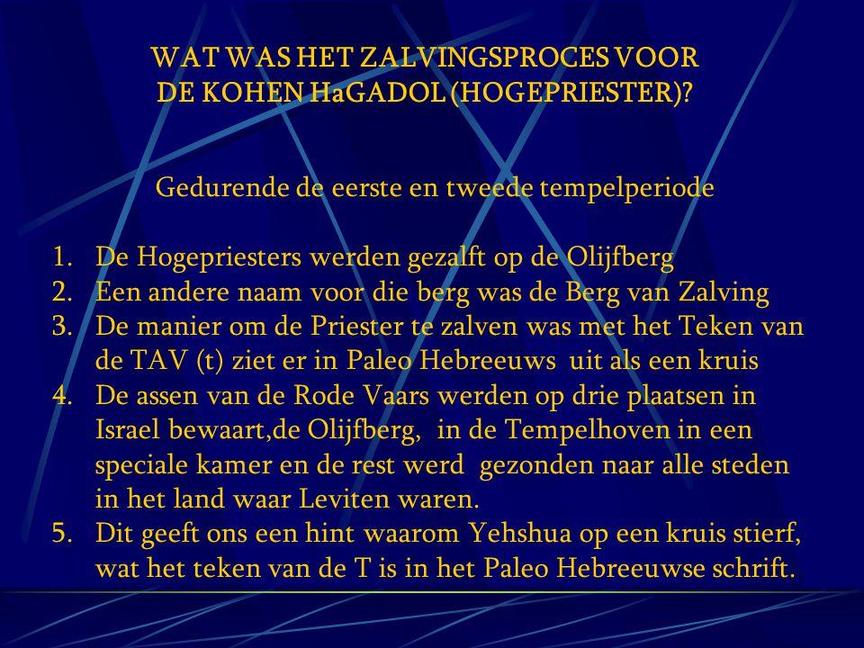 WAT WAS HET ZALVINGSPROCES VOOR DE KOHEN HaGADOL (HOGEPRIESTER)