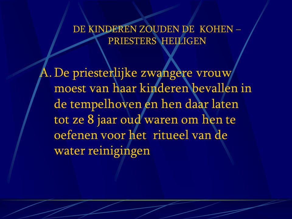 DE KINDEREN ZOUDEN DE KOHEN –PRIESTERS HEILIGEN