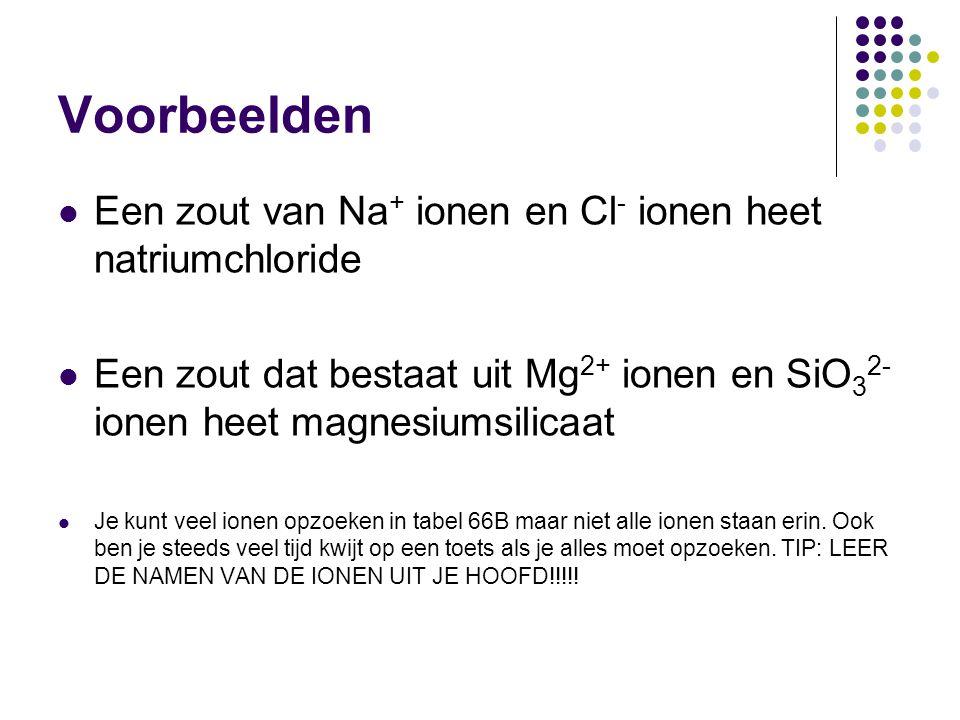Voorbeelden Een zout van Na+ ionen en Cl- ionen heet natriumchloride