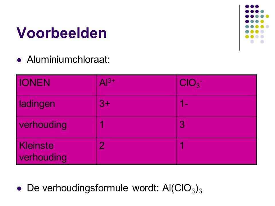 Voorbeelden Aluminiumchloraat: De verhoudingsformule wordt: Al(ClO3)3