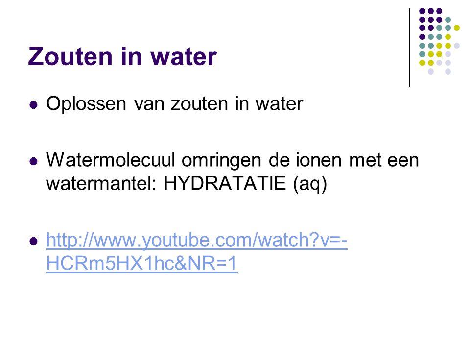 Zouten in water Oplossen van zouten in water
