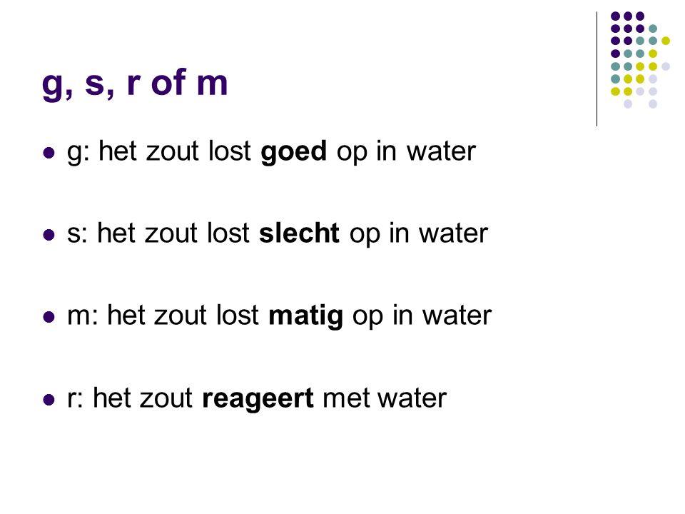 g, s, r of m g: het zout lost goed op in water