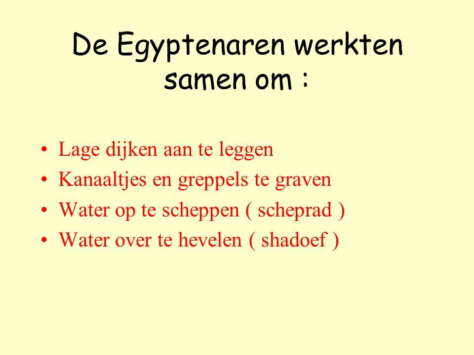 De Egyptenaren werkten samen om :
