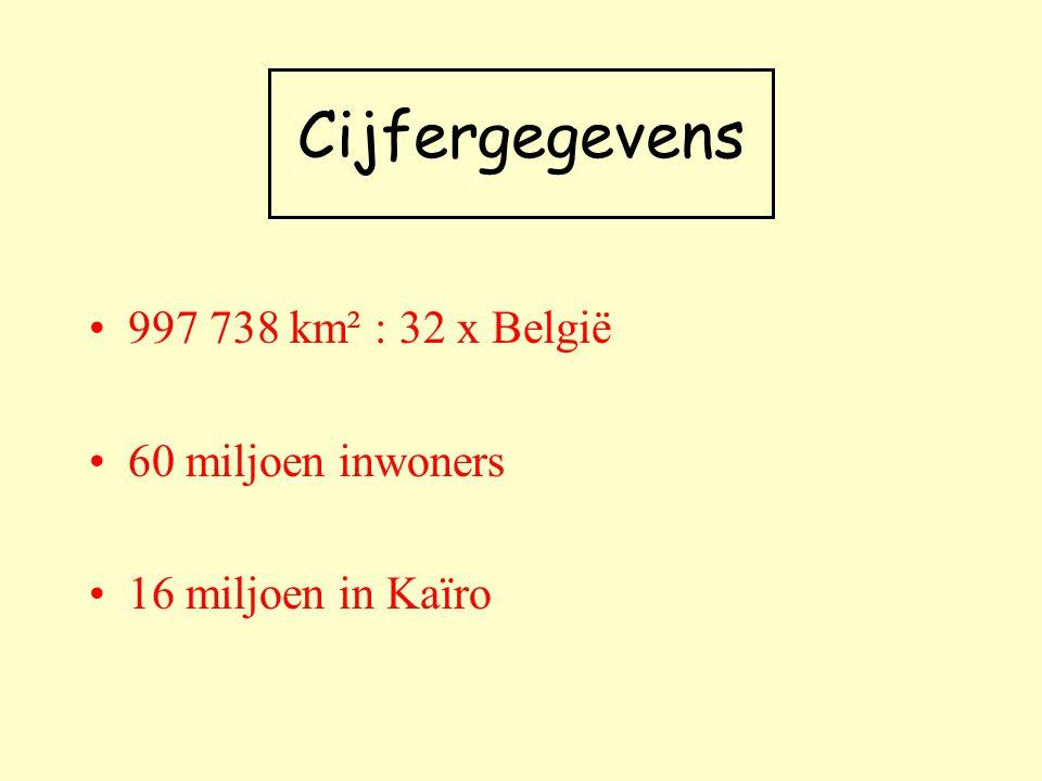 Cijfergegevens 997 738 km² : 32 x België 60 miljoen inwoners