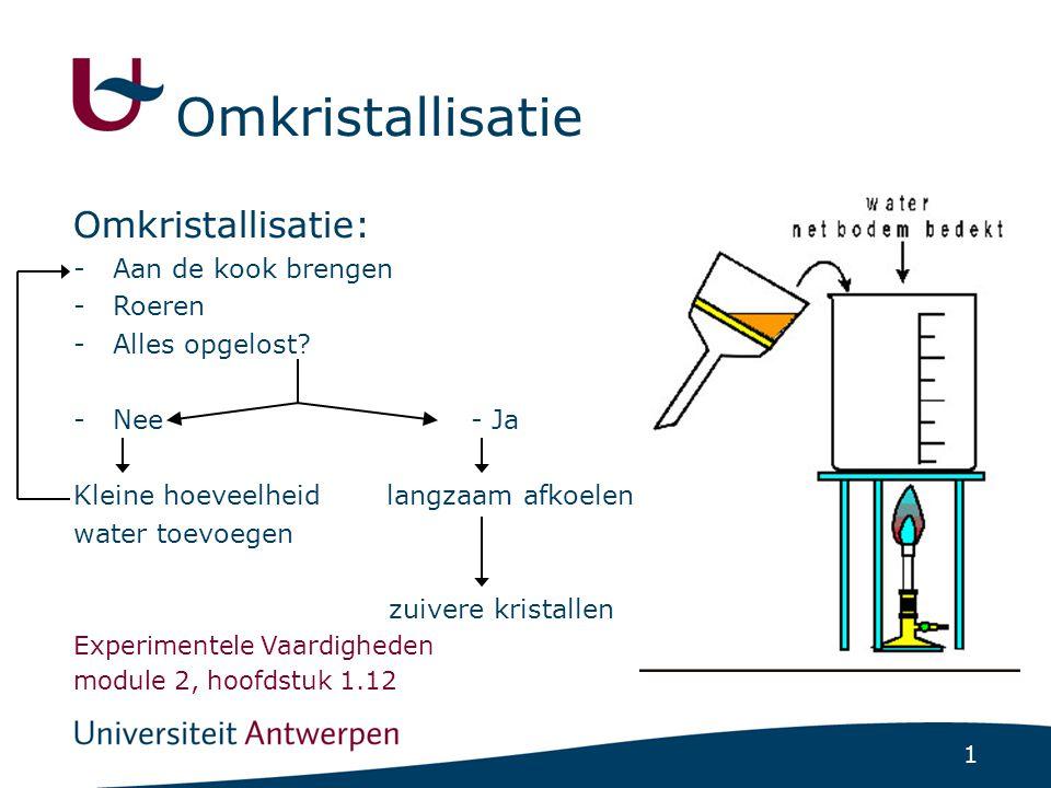 Omkristallisatie Omkristallisatie: Aan de kook brengen Roeren