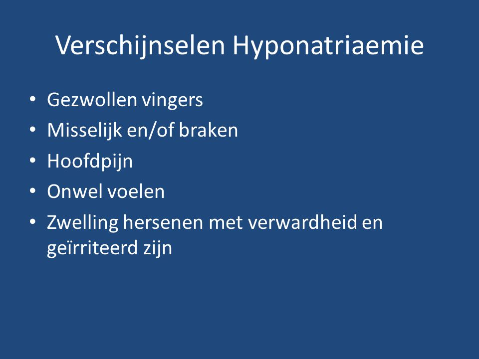 Verschijnselen Hyponatriaemie