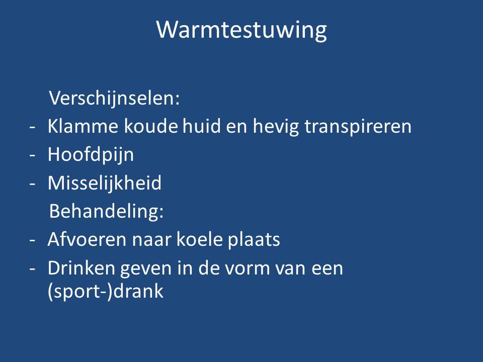 Warmtestuwing Verschijnselen: Klamme koude huid en hevig transpireren