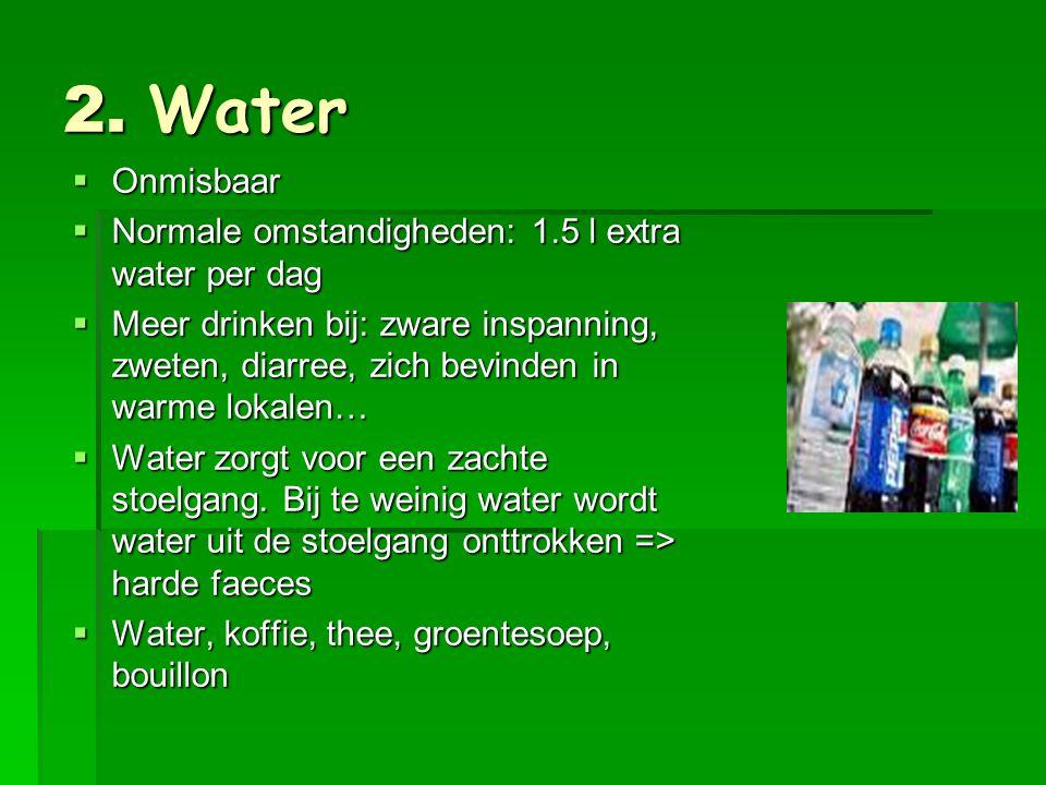 2. Water Onmisbaar Normale omstandigheden: 1.5 l extra water per dag