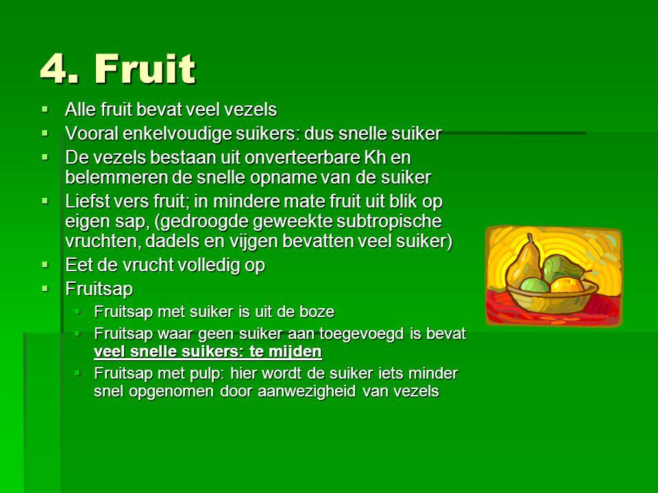 4. Fruit Alle fruit bevat veel vezels