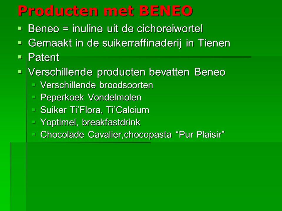 Producten met BENEO Beneo = inuline uit de cichoreiwortel