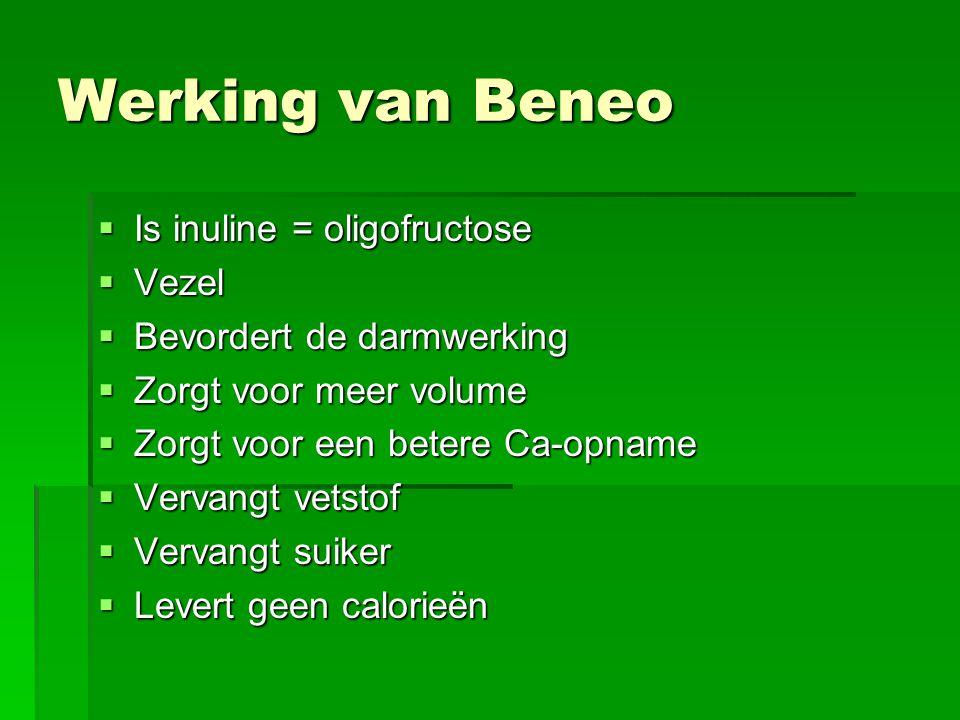 Werking van Beneo Is inuline = oligofructose Vezel