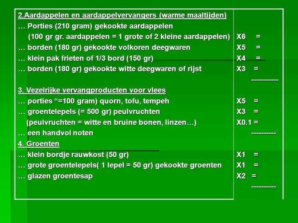 2.Aardappelen en aardappelvervangers (warme maaltijden)