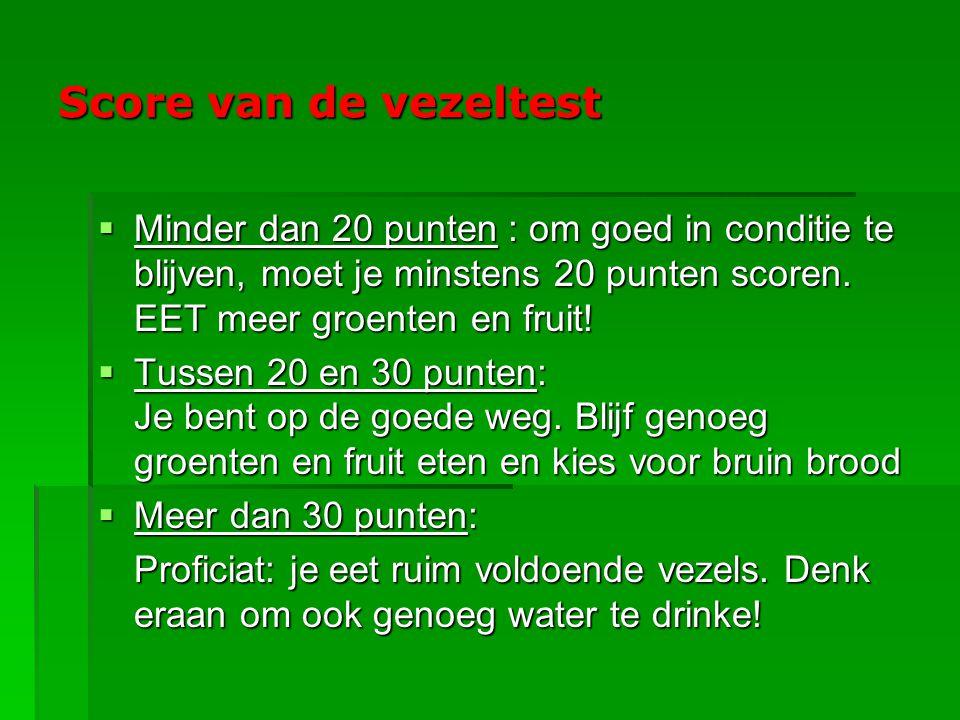 Score van de vezeltest Minder dan 20 punten : om goed in conditie te blijven, moet je minstens 20 punten scoren. EET meer groenten en fruit!