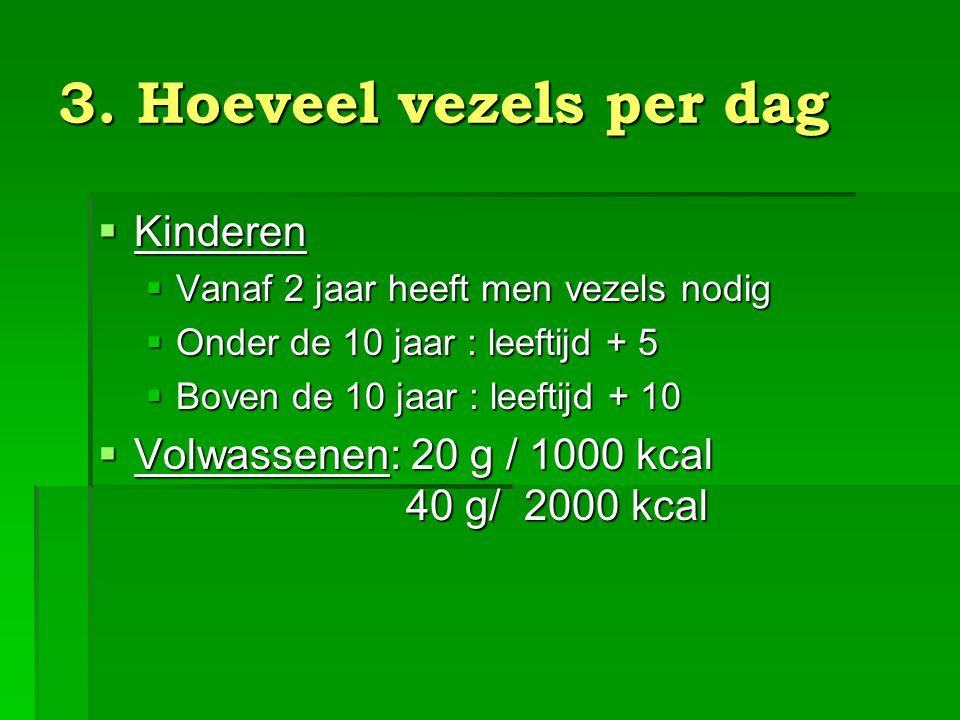 3. Hoeveel vezels per dag Kinderen