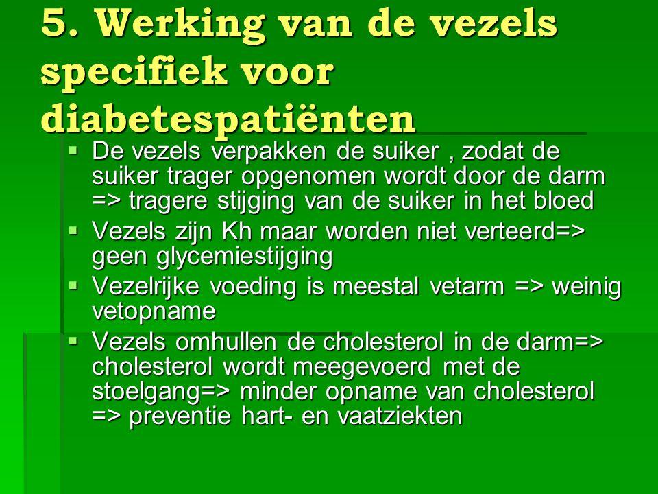 5. Werking van de vezels specifiek voor diabetespatiënten