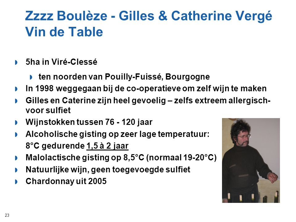 Zzzz Boulèze - Gilles & Catherine Vergé Vin de Table