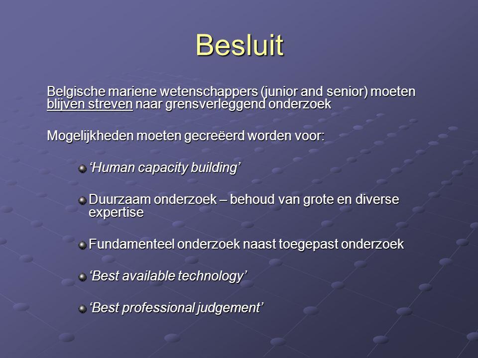 Besluit Belgische mariene wetenschappers (junior and senior) moeten blijven streven naar grensverleggend onderzoek.