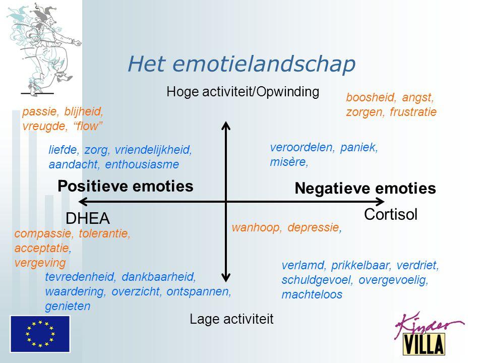 Het emotielandschap Positieve emoties Negatieve emoties Cortisol DHEA