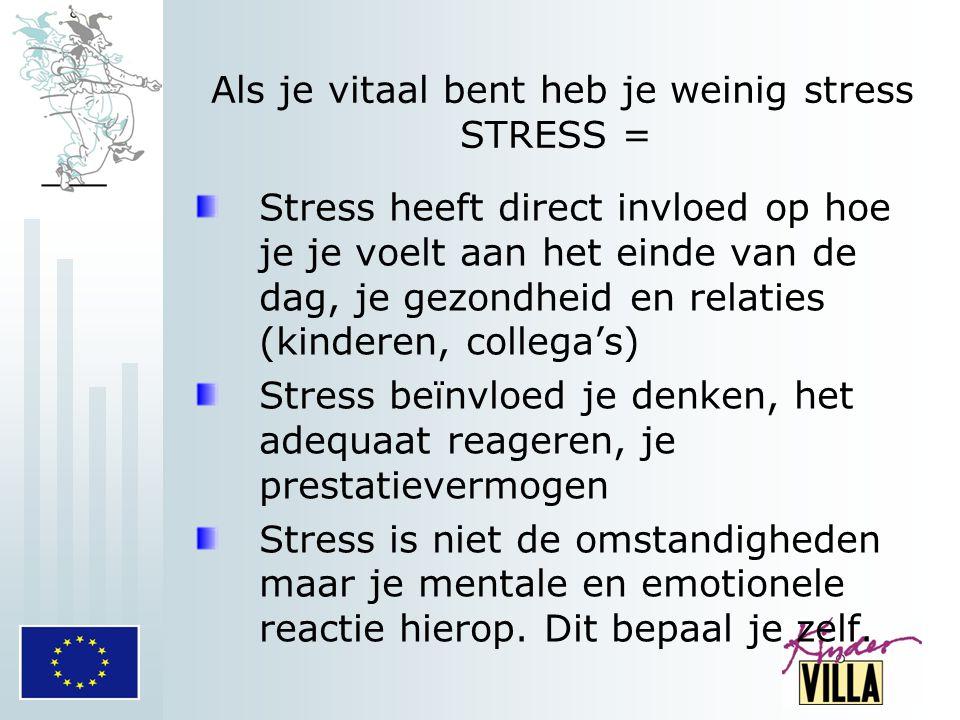 Als je vitaal bent heb je weinig stress STRESS =