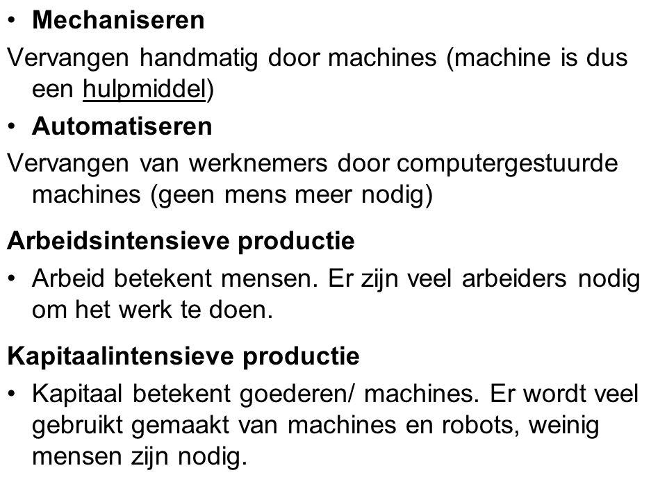 Mechaniseren Vervangen handmatig door machines (machine is dus een hulpmiddel) Automatiseren.