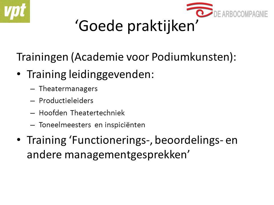 'Goede praktijken' Trainingen (Academie voor Podiumkunsten):