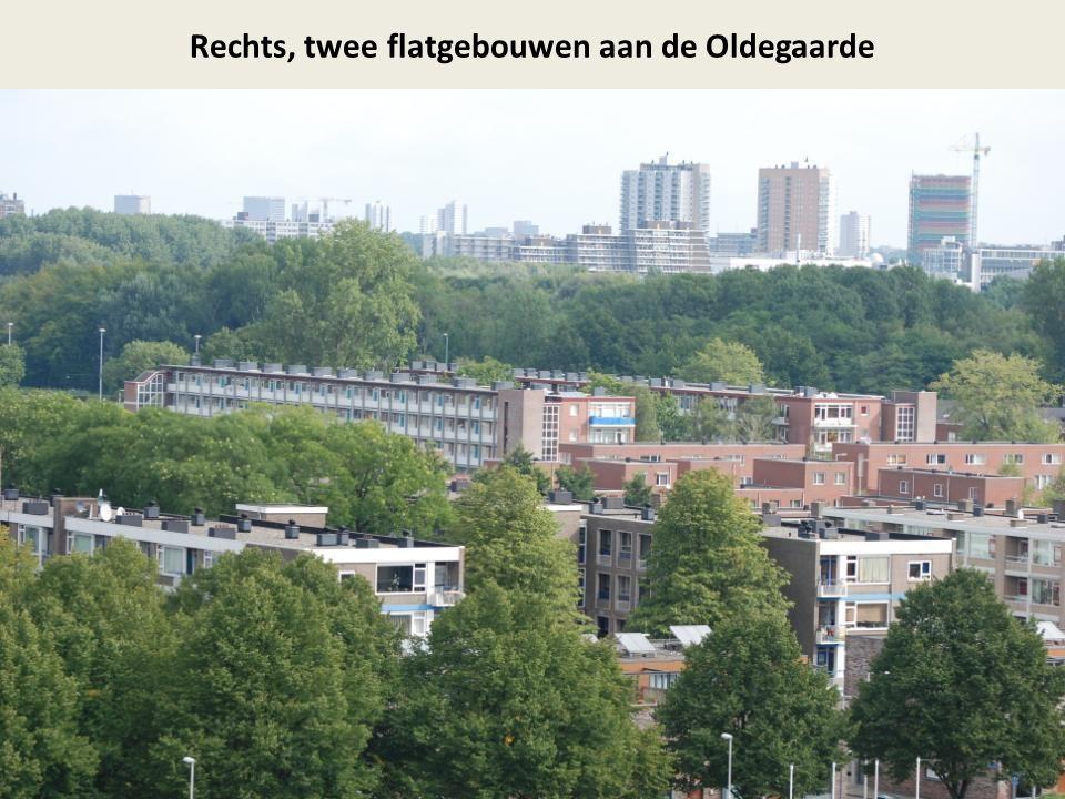 Rechts, twee flatgebouwen aan de Oldegaarde