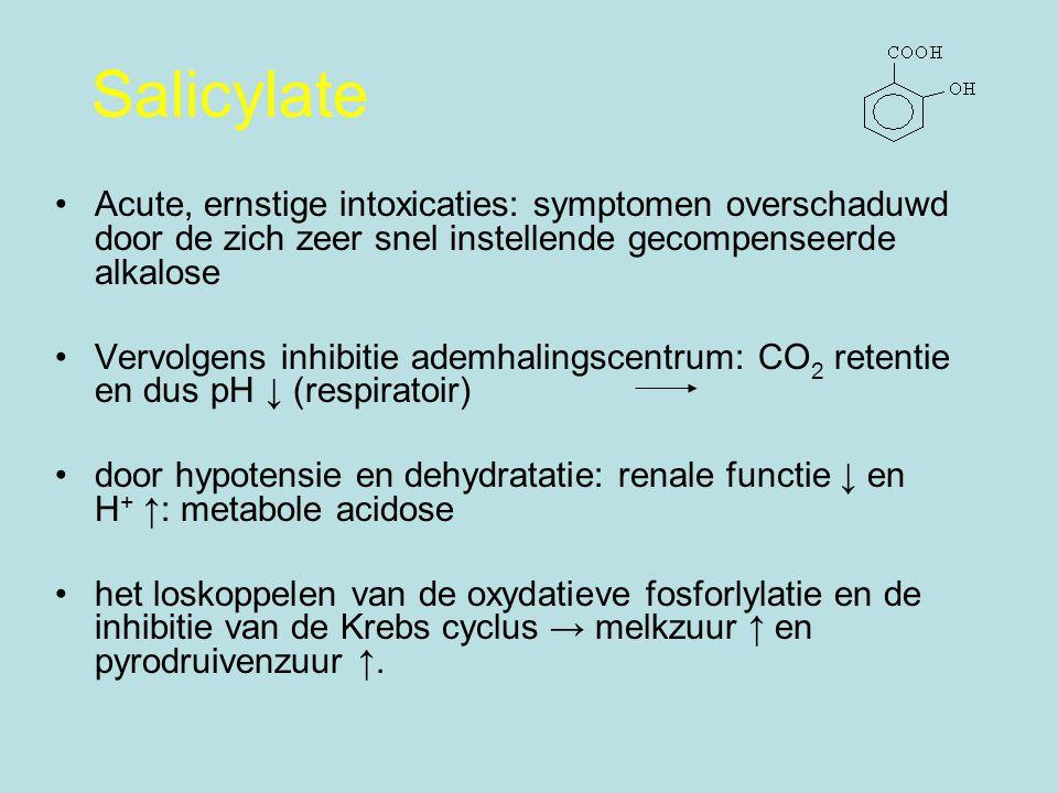 Salicylate Acute, ernstige intoxicaties: symptomen overschaduwd door de zich zeer snel instellende gecompenseerde alkalose.