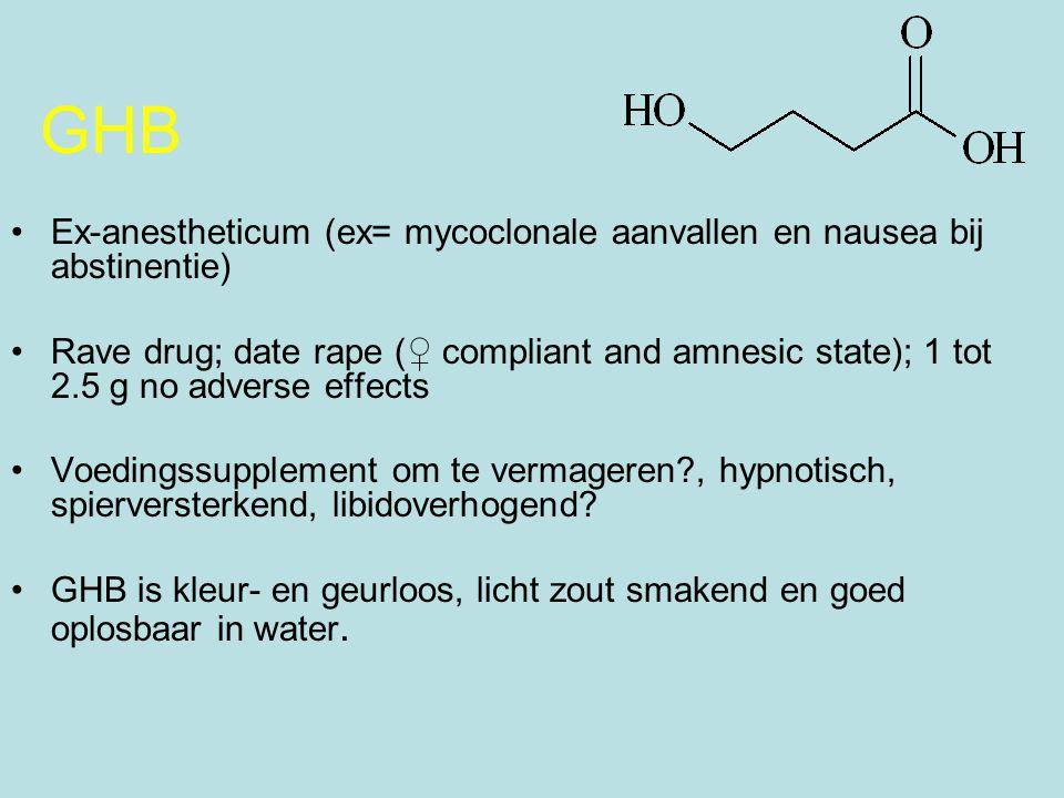 GHB Ex-anestheticum (ex= mycoclonale aanvallen en nausea bij abstinentie)