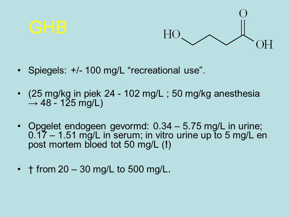 GHB Spiegels: +/- 100 mg/L recreational use .