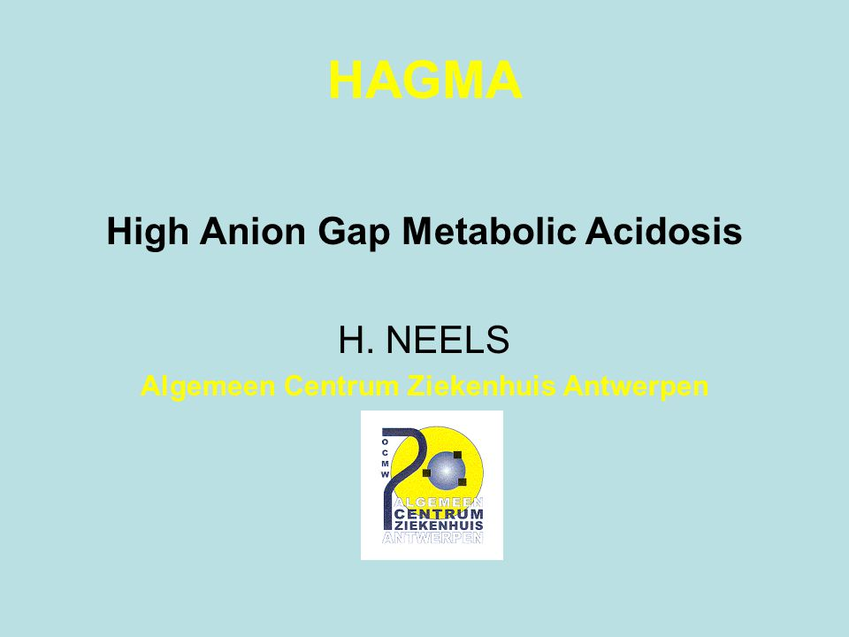 HAGMA High Anion Gap Metabolic Acidosis H. NEELS