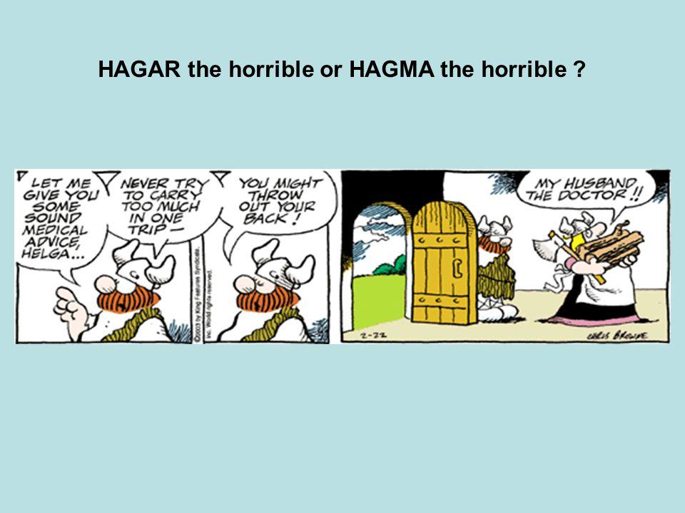HAGAR the horrible or HAGMA the horrible