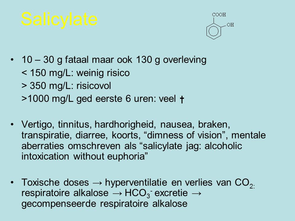 Salicylate 10 – 30 g fataal maar ook 130 g overleving