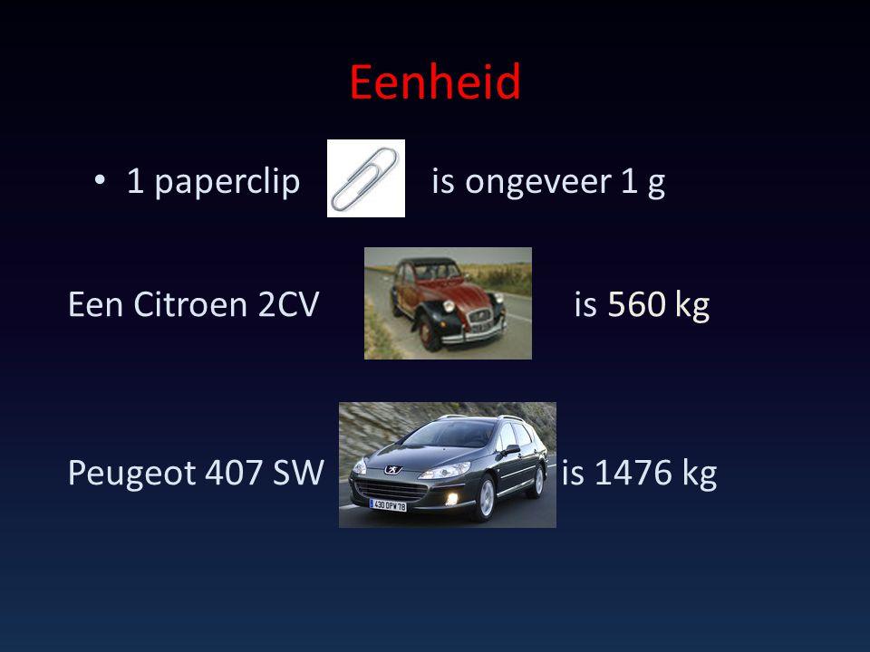 Eenheid 1 paperclip is ongeveer 1 g Een Citroen 2CV is 560 kg