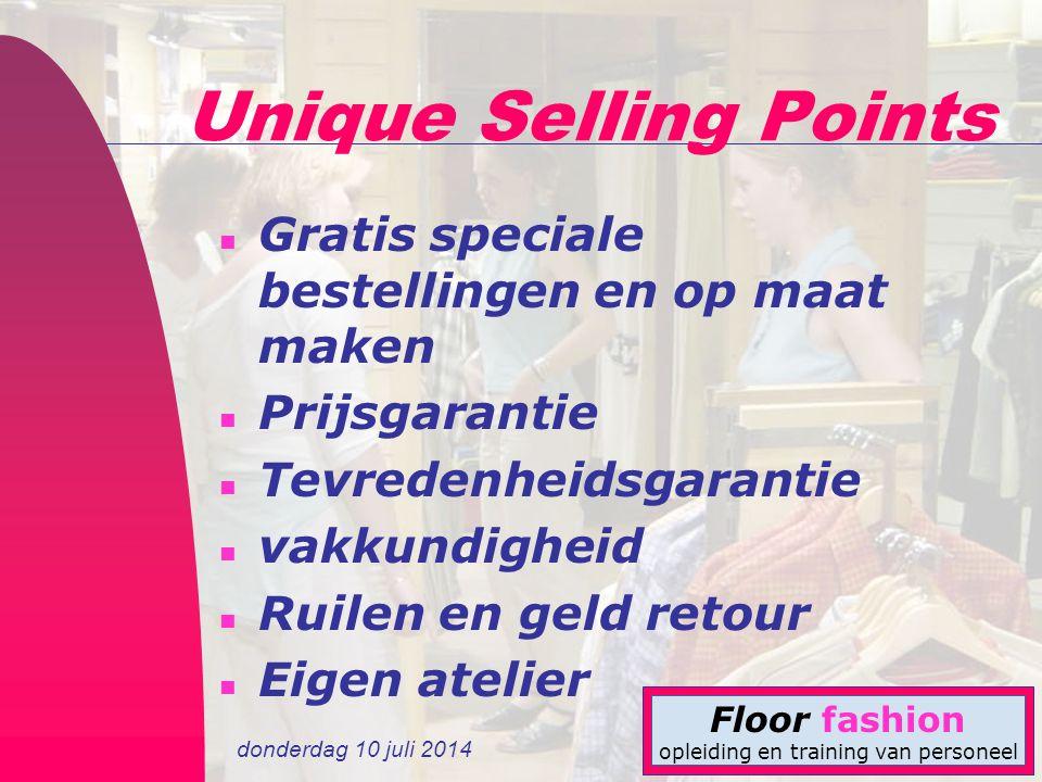 Unique Selling Points Gratis speciale bestellingen en op maat maken