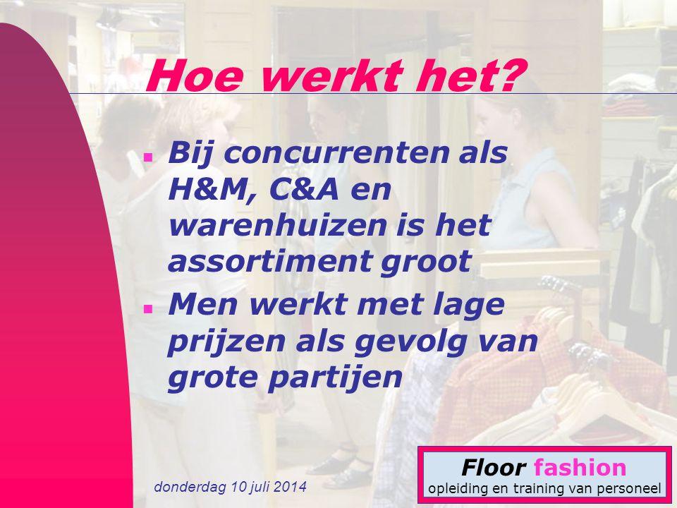Hoe werkt het. Bij concurrenten als H&M, C&A en warenhuizen is het assortiment groot.