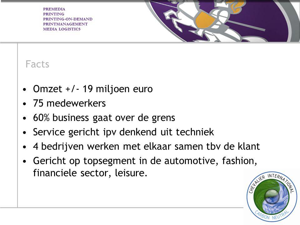 Facts Omzet +/- 19 miljoen euro. 75 medewerkers. 60% business gaat over de grens. Service gericht ipv denkend uit techniek.
