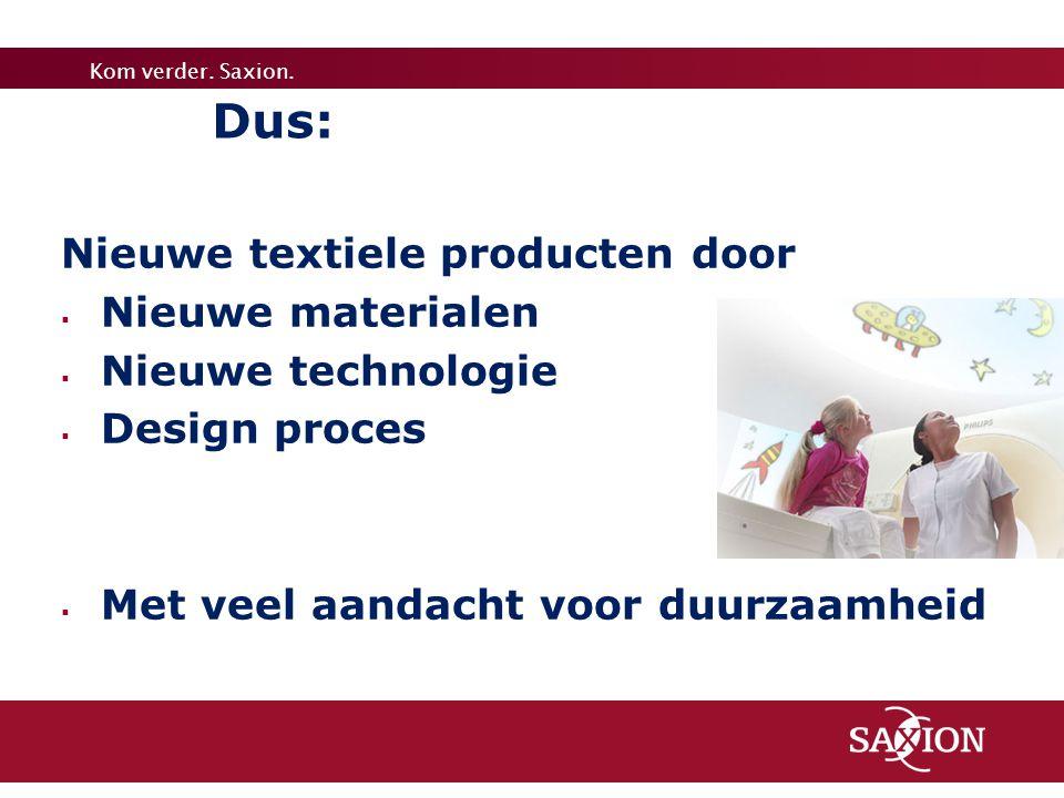 Dus: Nieuwe textiele producten door Nieuwe materialen