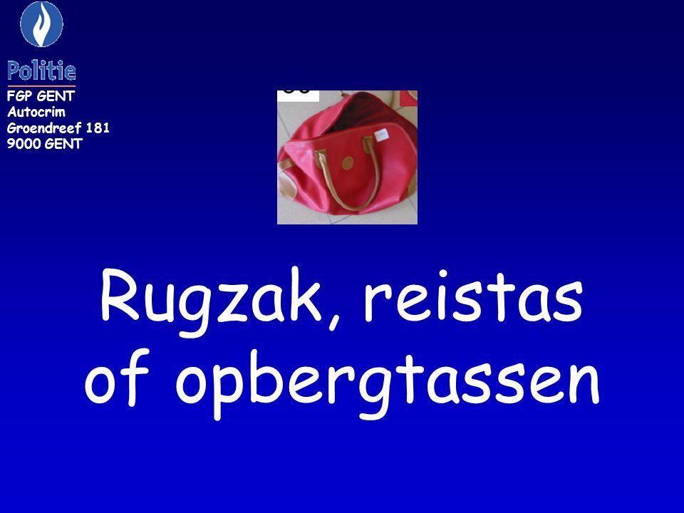 Rugzak, reistas of opbergtassen FGP GENT Autocrim Groendreef 181