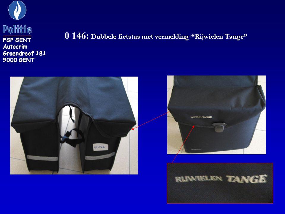 0 146: Dubbele fietstas met vermelding Rijwielen Tange