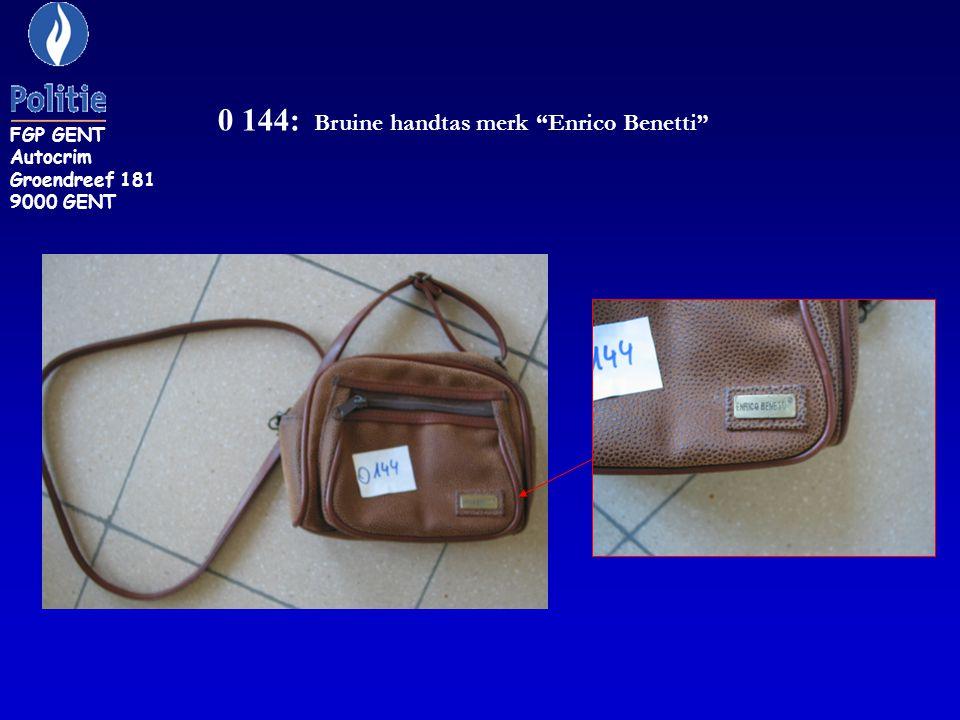 0 144: Bruine handtas merk Enrico Benetti