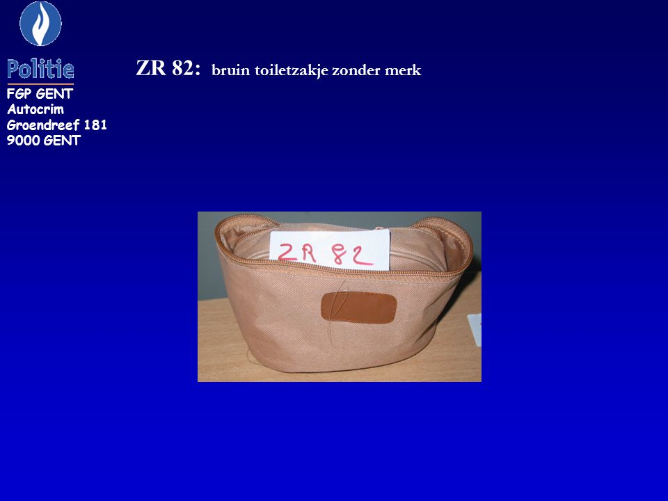 ZR 82: bruin toiletzakje zonder merk